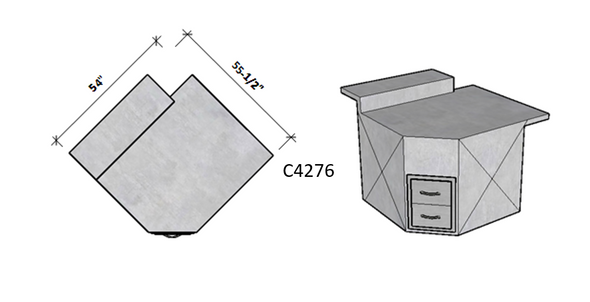Side 1 Raised Bar Seating – Side 2 Level Overhang Seating