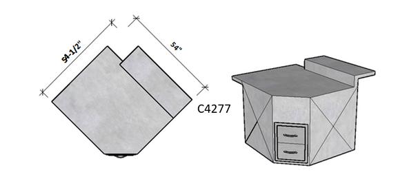 Side 1 Level Overhang Seating – Side 2 Raised Bar Seating