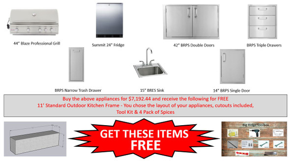 Warehouse Special Blaze 4PRO NG Grill Package With Free Frames