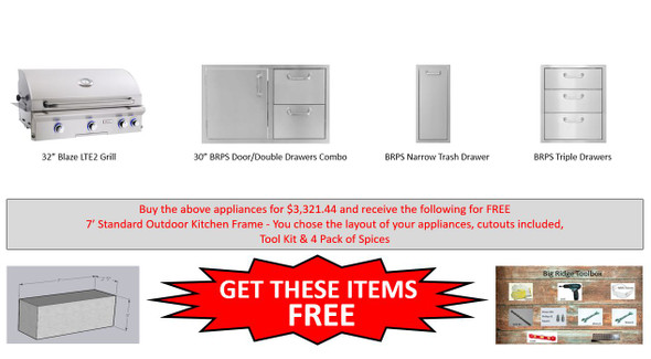 Warehouse Special Blaze 4LTE NG Grill Package With Free Frames