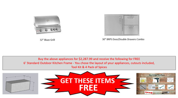 Warehouse Special Blaze 4 NG & LP Grill Package With Free Frames