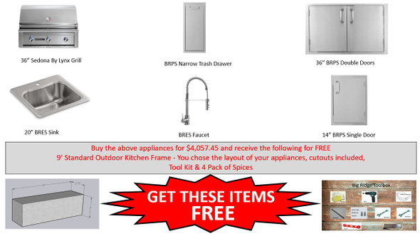 Warehouse Special Sedona By Lynx L600PS-LP Grill Package With Free Frames