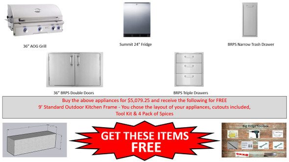 """Warehouse Special AOG 36"""" LP & NG Grill Package With Free Frames Pkg 5"""