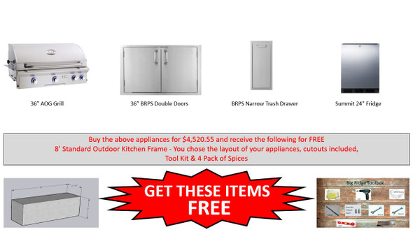 """Warehouse Special AOG 36"""" LP & NG Grill Package With Free Frames Pkg 4"""