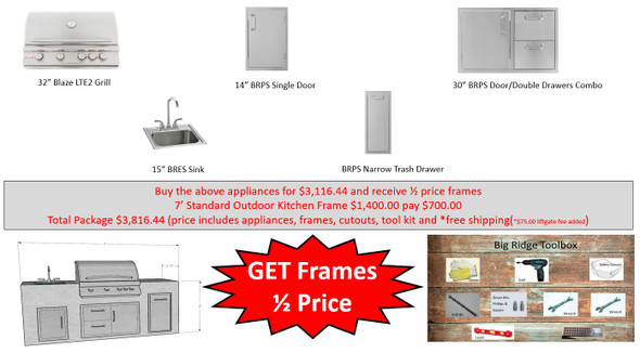 Value Deal 1 7' Outdoor Kitchen with Appliances and Half Price Frames