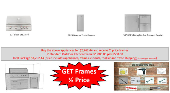 Value Deal 3 5' Outdoor Kitchen with Appliances and Half Price Frames