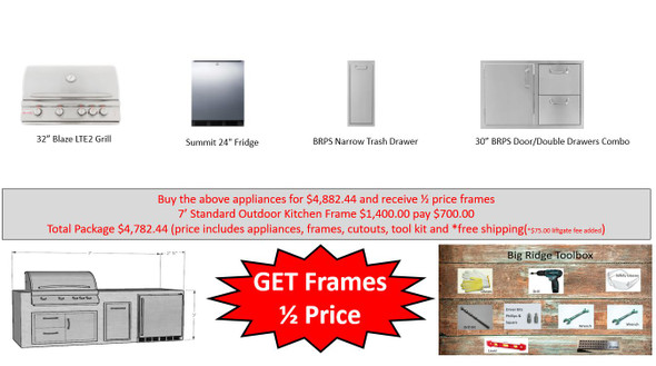 Value Deal 4 8' Outdoor Kitchen with Appliances and Half Price Frames