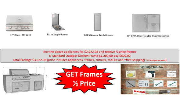 Value Deal 5 6' Outdoor Kitchen with Appliances and Half Price Frames