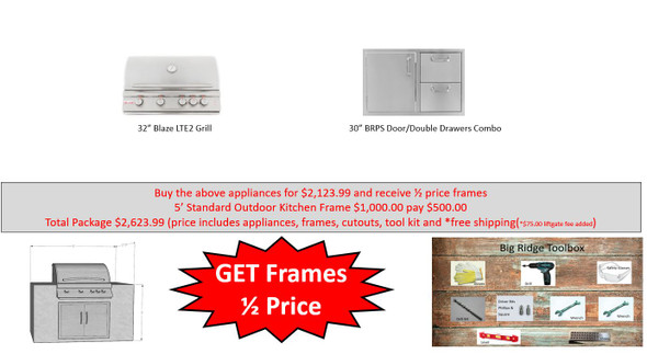 Value Deal 6 5' Outdoor Kitchen with Appliances and Half Price Frames