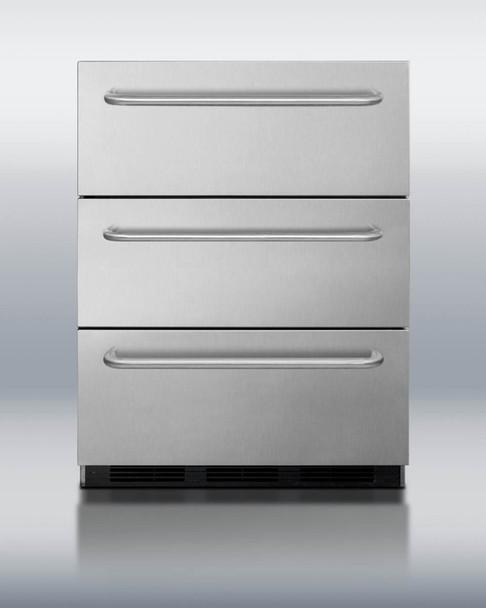 Summit SP6DSSTBOS 5.4 Cu. Ft Stainless Steel Outdoor Triple Drawer Refrigerator With Towel Bar Handles
