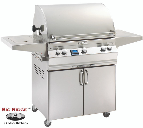 Fire Magic A660s-6EAN-62 Aurora Gas Grill With Single Side Burner, Rotisserie Backburner, & Grill Light On Cart