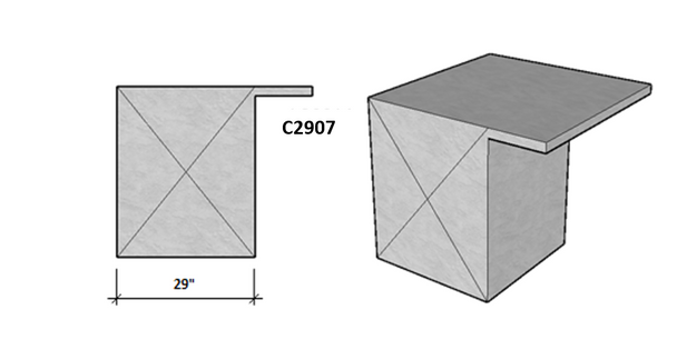 """Ready To Finish SNC 30.5"""" Corner Module With Both Sides Level Overhang Seating"""