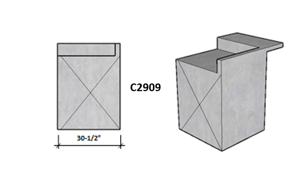 """Ready To Finish SNC 30.5"""" Corner Module With Raised Bar Seating On Side 1 and Backsplash On Side 2"""