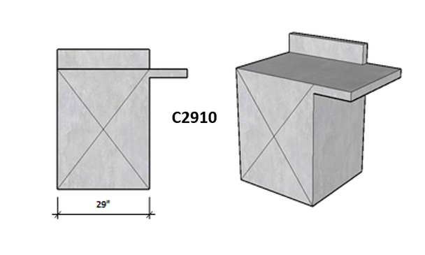 """Ready To Finish SNC 30.5"""" Corner Module With Backsplash On Side 1 and Level Overhang Seating On Side 2"""