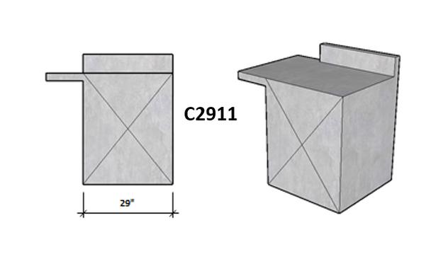 Level Overhang Seating On Side 1 and Backsplash On Side 2