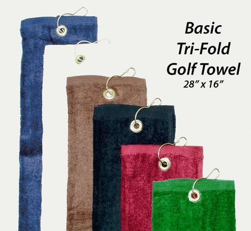 """Basic Golf Towel 28"""" X 16"""",  9 Colors"""