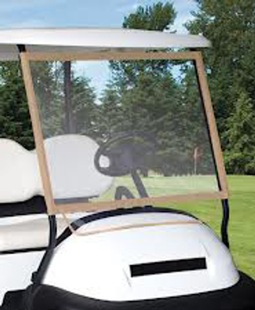 This windshield fits most carts with a roof. Attaches in seconds with rip & grip closure straps. Super-clear material. Heavy duty fabric frame. Roll it up when not in use. Might even fit in your golf bag.