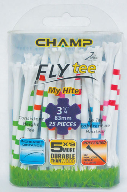 """""""Flytee"""" 3 1/4"""" """"My Hite"""" 25 Pack, Striped Tees,  4 Colors To Choose From"""