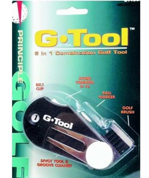"""""""G-Tool"""",  A multi-use """"tool"""" for a golfer. Ball Marker, Score Counter, Divot Tool, Brush, Belt Clip"""