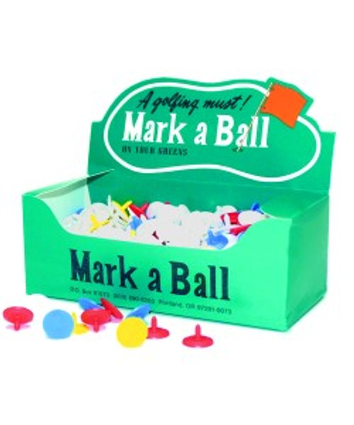 """""""Mark a Ball""""  Plastic markers. Dime size. 500 per box. Printing available."""