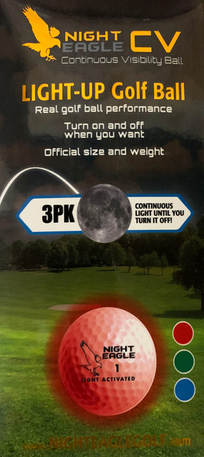 """""""Night Eagle CV"""",  3-Pack, Night golf ball. On-Off when you want."""