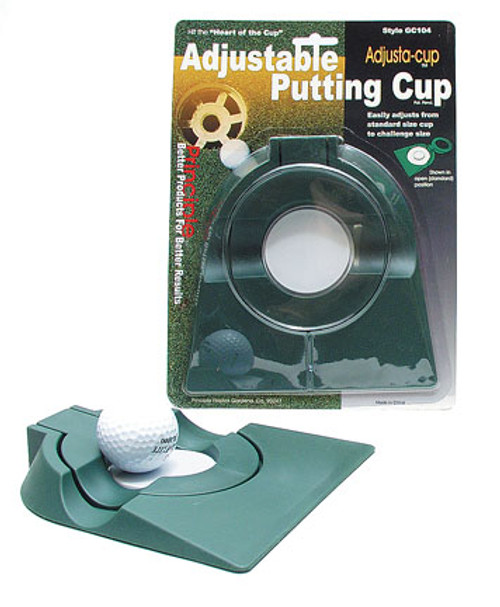 """Adjustable Putting Cup, 4 1/4"""" cup can be reduced to a 2 3/8"""" size."""