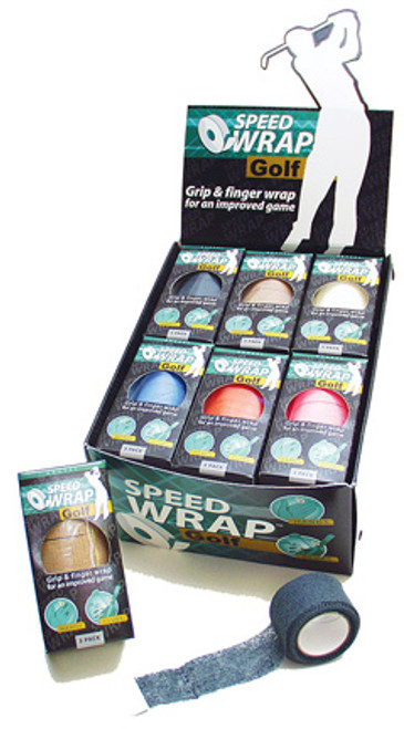 """""""Speedwrap"""" Grip and Finger Wrap. 12 3-Roll Boxes Per Display. Asst. Colors"""