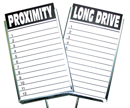 Tournament Signs,  Set Of 4 Steel Card Holders, 1 Pack Long Drive/Proximity Cards included