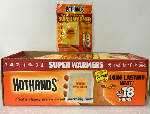 """""""Hot Hands XL"""", Extra Large (4""""x 5"""") Warmers, 40-1Packs Per Box, Disposable"""