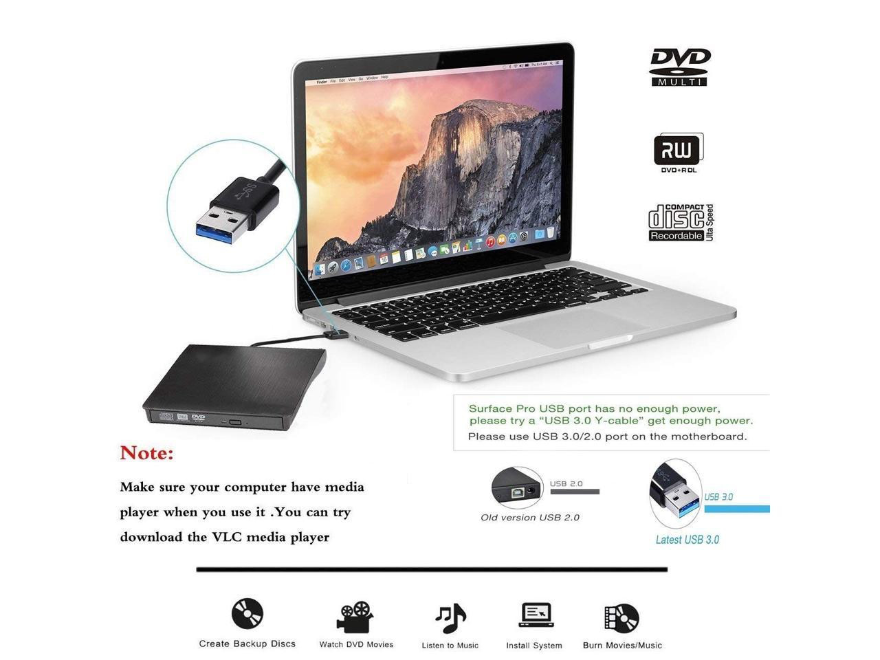 External CD Drive, USB 3.0 Portable CD/DVD +/-RW Drive Slim DVD/CD Rom Rewriter