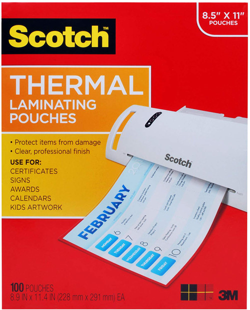 Scotch Thermal Laminating Pouches, 100-Pack, 8.9 x 11.4 inches, Letter Size Sheets