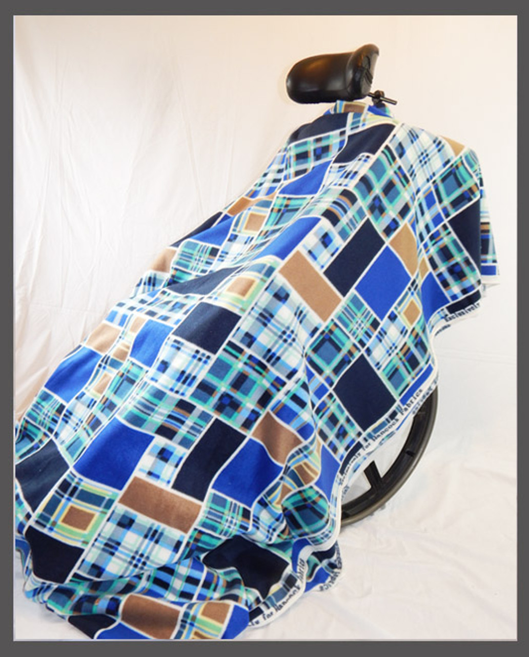 Blue & Brown Patches- Fleece Wheelchair Poncho