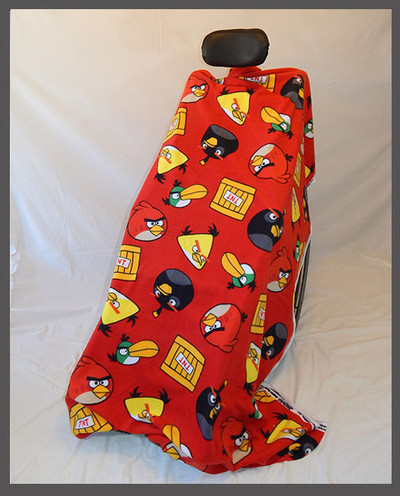 Angry Birds on Red- Fleece Wheelchair Poncho