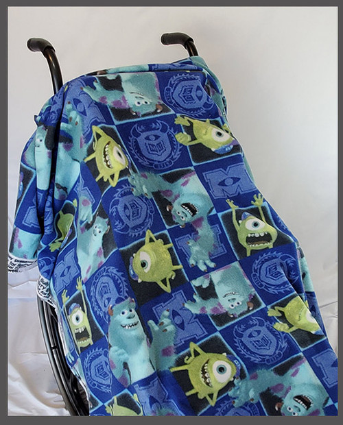 Monsters U- Fleece Wheelchair Poncho