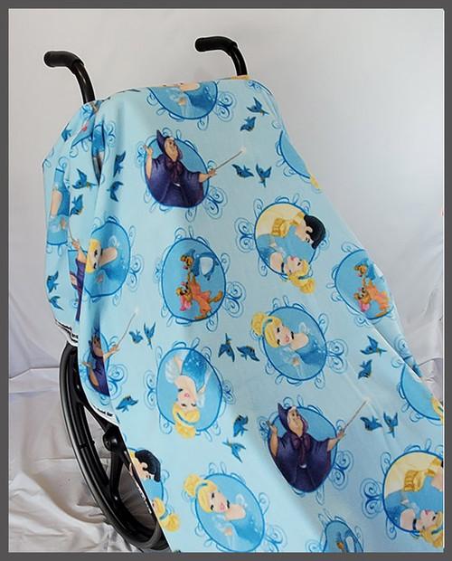 Cinderella on Blue- Fleece Wheelchair Poncho