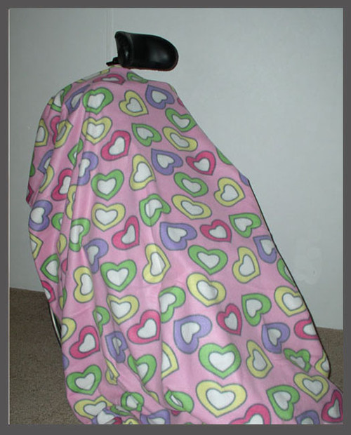 Hearts on Pink- Fleece Wheelchair Poncho (sz Small)