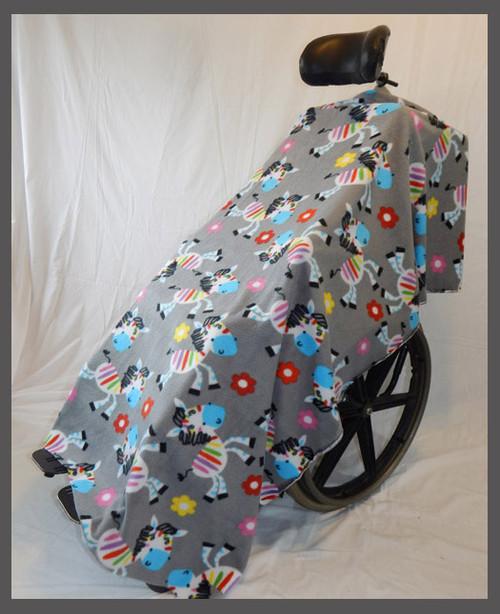 Rainbow Zebras Fleece Wheelchair Poncho- Fabric