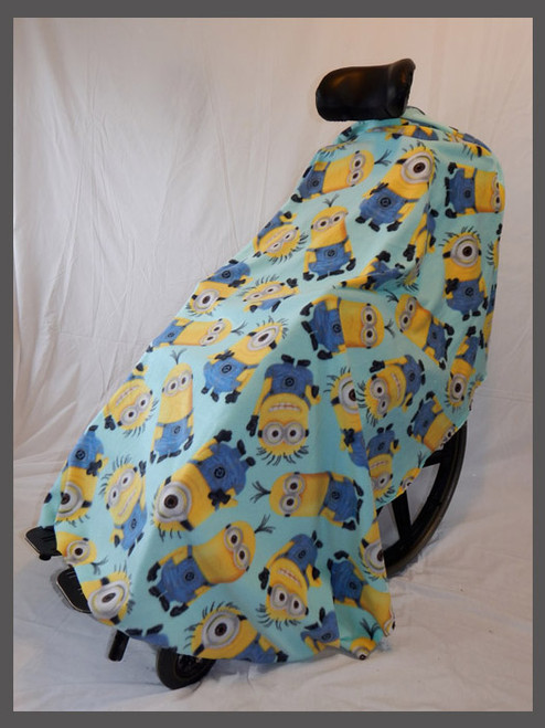 Yellow Men on Mint- Fleece Wheelchair Poncho