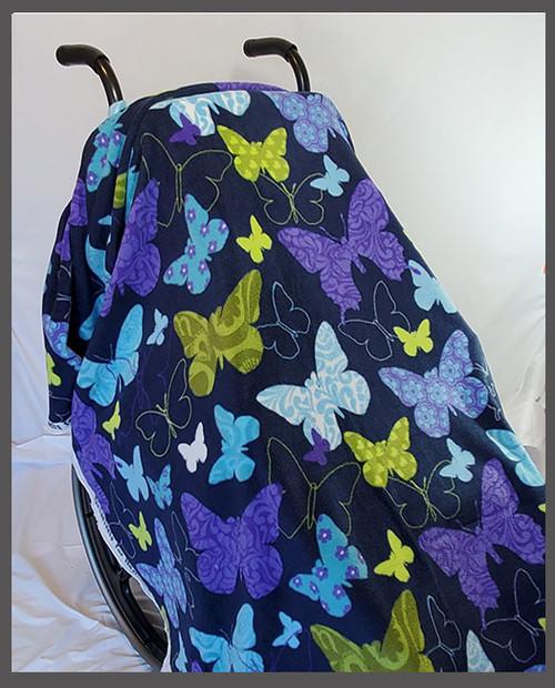 Butterflies on Navy- Fleece Wheelchair Poncho