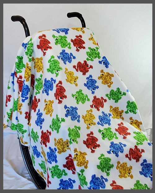 Frogs on White- Fleece Wheelchair Poncho
