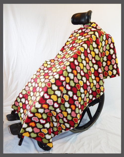 Hearts on Brown- Wheelchair Poncho
