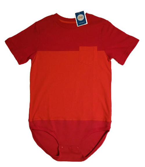 sz 8/10 Body Suit- (Altered) Circo Red & Orange Pocket Tee