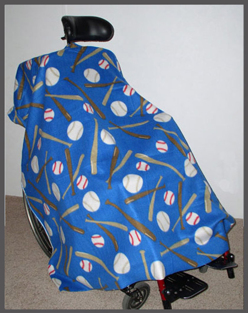 Baseball on Blue- Wheelchair Poncho