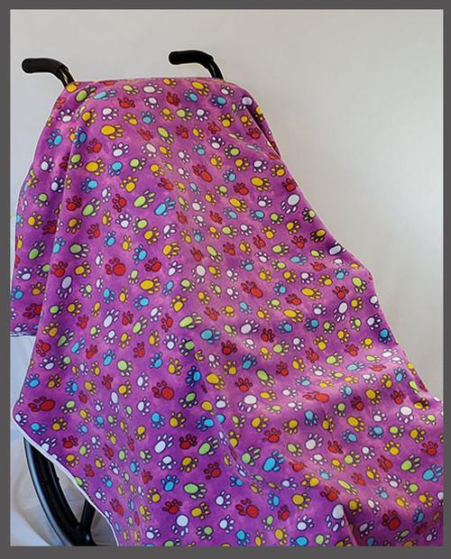 Paw Print Purple- Fleece Wheelchair Poncho