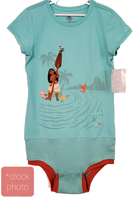 Moana Green - Girls sz 10/12 Body Suit- (Altered T-shirt)
