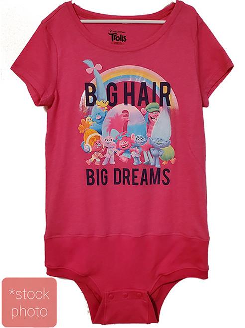 Trolls Pink- Girls sz 7/8 Body Suit- (Altered T-shirt)