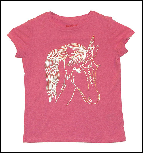 Foil Unicorn on Pink shirt