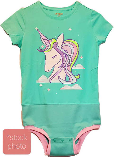 Unicorn on Green - Girls sz 7/8 Body Suit- (Altered T-shirt)