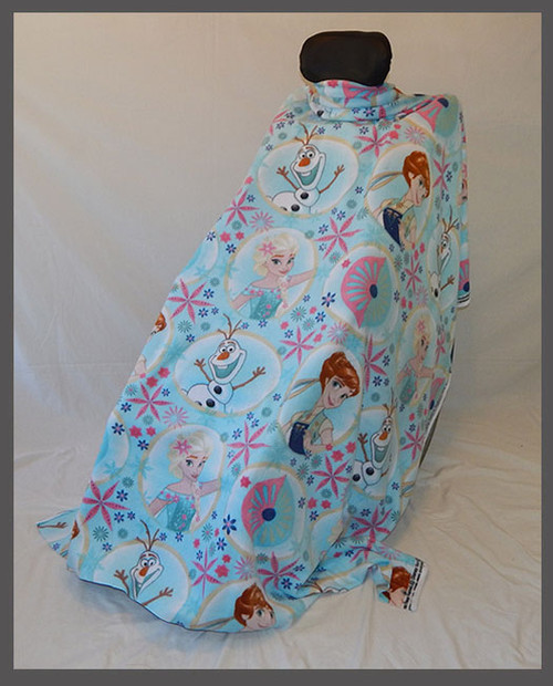 Frozen Circles Blue- Fleece Wheelchair Poncho