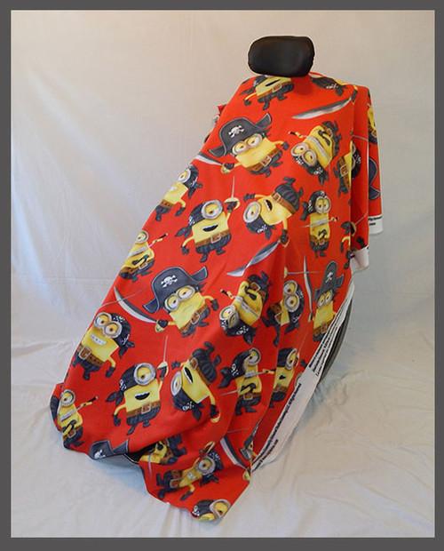 Minion Pirates Red- Fleece Wheelchair Poncho (sz Small)